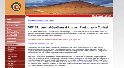 Annual GRC Amateur Geothermal Photography Contest