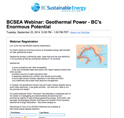 Webinar on geothermal potential of British Columbia, Canada
