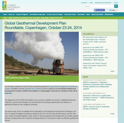 Global Geothermal Development Plan Roundtable, Copenhagen Oct. 23-24, 2014