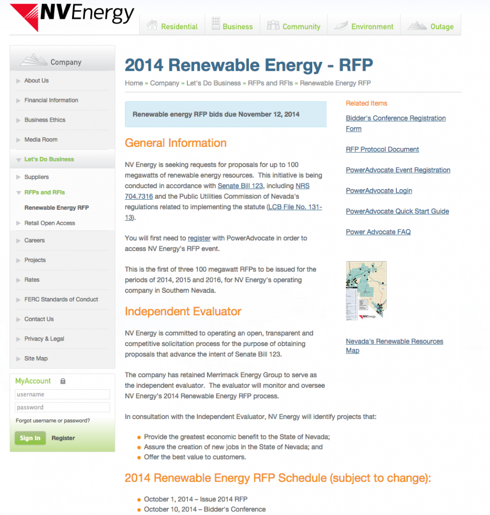 NV Energy to issue RFP for 100 MW renewable power