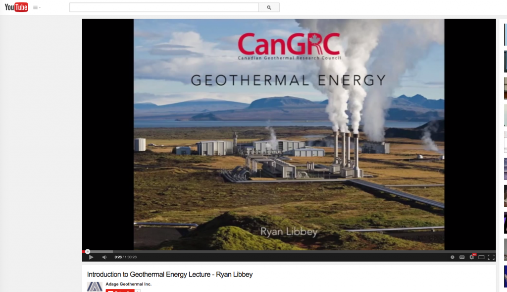 Video Lecture: Introduction to Geothermal Energy by Ryan Libbey
