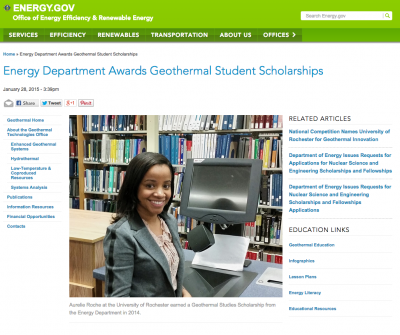 Recipients of U.S. DOE geothermal student scholarships