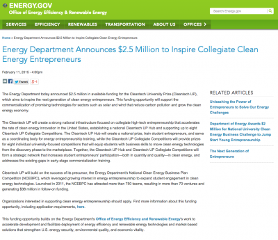 U.S. DOE announces Cleantech University prize for student entrepreneurs