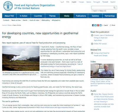 World Food Organisation promotes use of geothermal for food processing