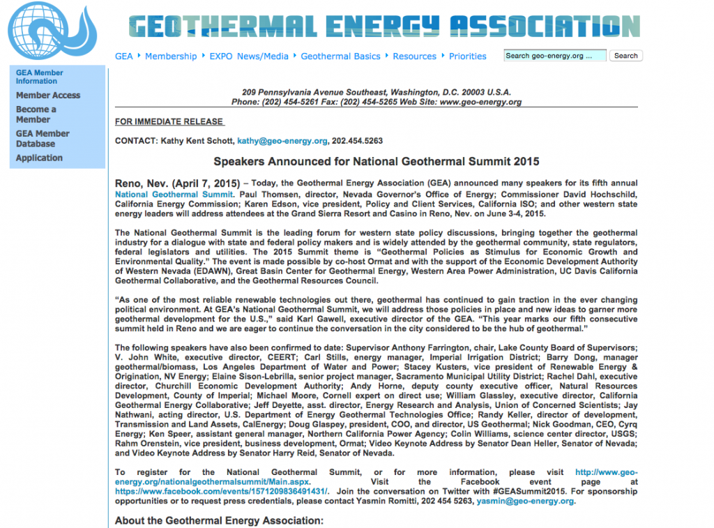U.S. National Geothermal Summit 2015 – speakers announced