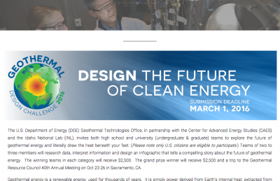 Geothermal Design Challenge sees tremendous number of submissions