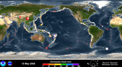 Animation by NOAA showing off seismic activities around the globe