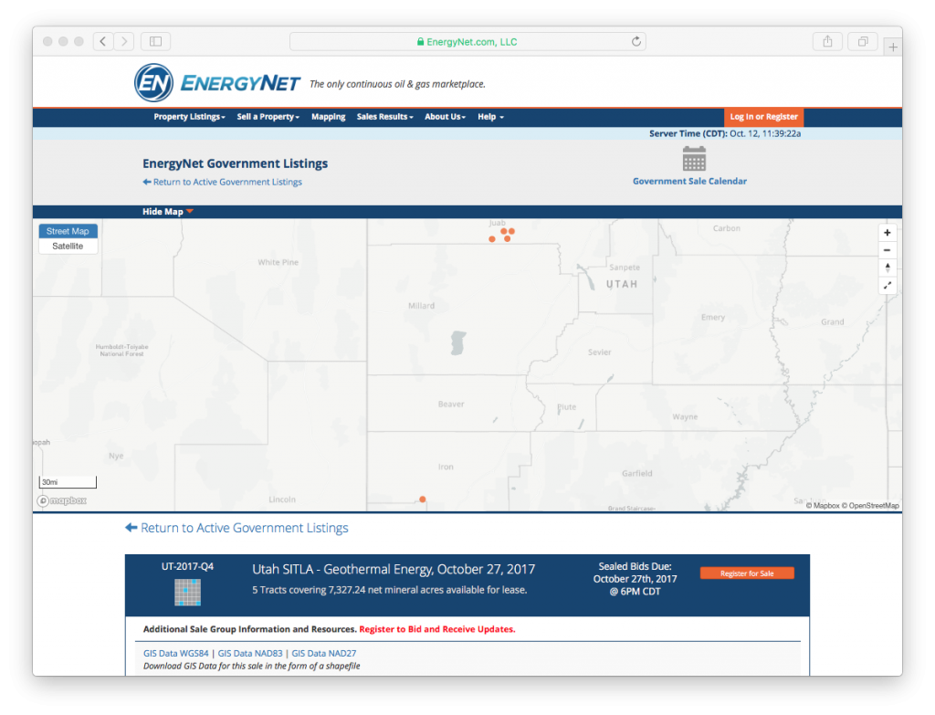 Electronic state land administration geothermal lease sale in Utah, Oct. 27, 2017