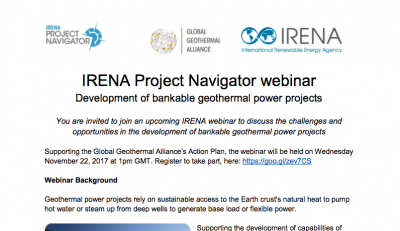 IRENA Webinar – Developing bankable geothermal projects, 22 Nov. 2017