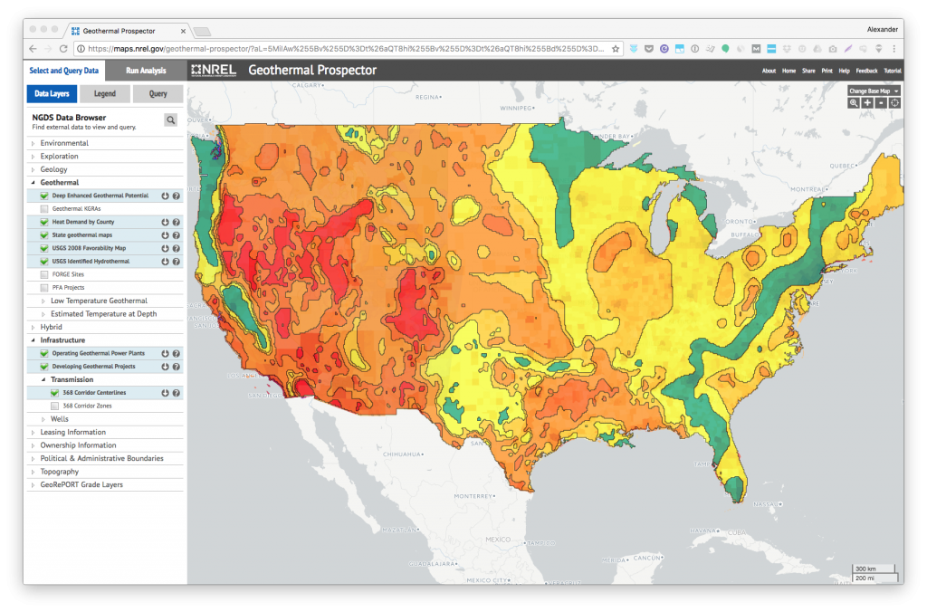 Map Of Tge Us NREL Geothermal Prospector   an interactive map of U.S. geothermal  Map Of Tge Us