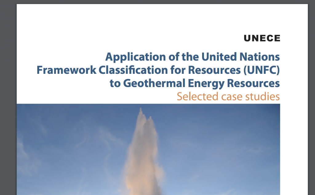 UNECE report with 14 case studies on UNFC classification of geothermal resources in 14 countries