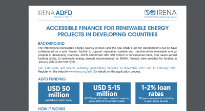 Deadline approaching for $50 million funding cycle of IRENA/ADFD Project facility