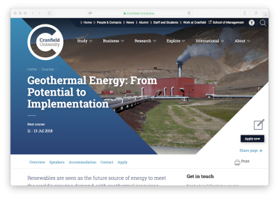 Course: Geothermal Energy – from potential to implementation, 11-13 July 2018