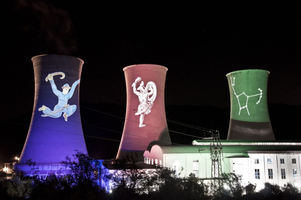Celebrating the history of geothermal in Tuscany – a light installation at Larderello, Italy