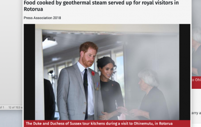 Prince Harry and his wife Meghan exploring geothermal cooking in Rotorua, New Zealand
