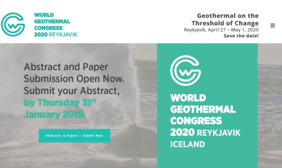 World Geothermal Congress 2020 – 2 days to submit your Abstract