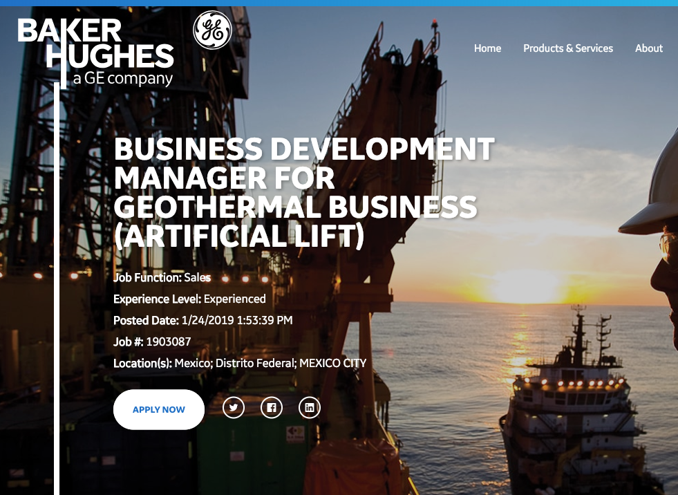 Job: Business Development Manager for Geothermal, BHGE (Artificial Lift)