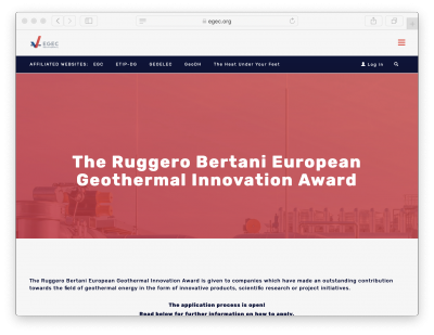 Ruggero Bertani Geothermal Innovation Award 2020 – Online Ceremony – May 27, 2020