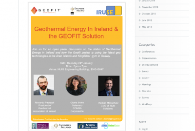 Workshop – Geothermal Energy in Ireland/ GEOFIT, Galway – Jan 24-25, 2019