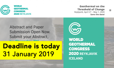 Last Day to submit your abstract for the World Geothermal Congress 2020