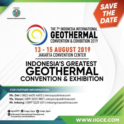Save the date: 7th Indonesia Int'l Geothermal Convention & Expo, 13-15 August 2019