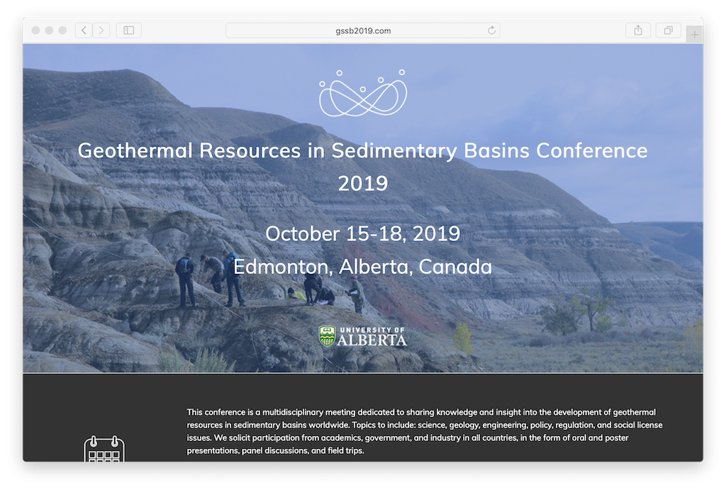 Conference – Geothermal Resources in Sedimentary Basins, Edmonton, 14-18 October, 2019