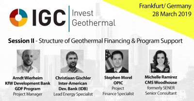 IGC Invest Geothermal – Exciting panel on structure of financing & program support