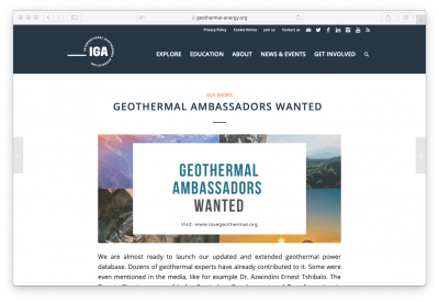 IGA seeks Geothermal Ambassadors as representatives for IGA