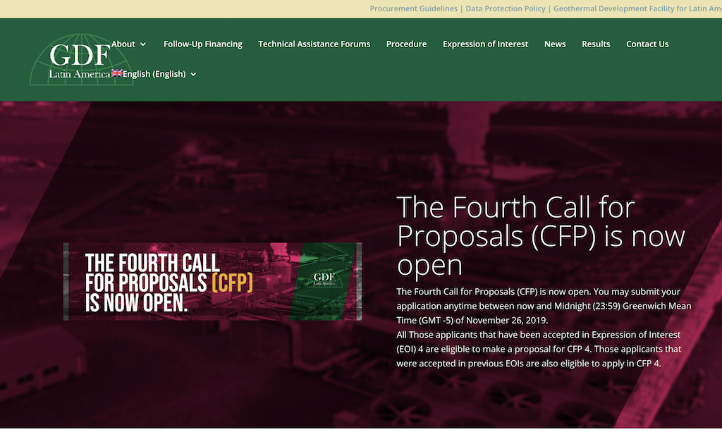 4th Call for Proposals open for Latin America Geothermal Development Facility (GDF)