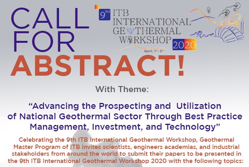 9th ITB International Geothermal Workshop 2020 – Call for Abstracts