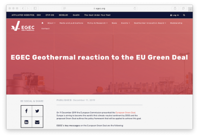 European Green Deal must look to heat sector and geothermal energy