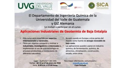 Course: Industrial app. for low enthalpy geothermal, Guatemala 13-17 Jan '20