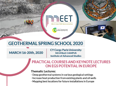MEET – Geothermal Spring School, CY Cergy Paris University – 16-20 March 2020