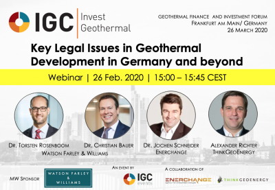 Webinar: Legal Issues in Geothermal Development – IGC Invest Pre-event – 26 Feb. 2020