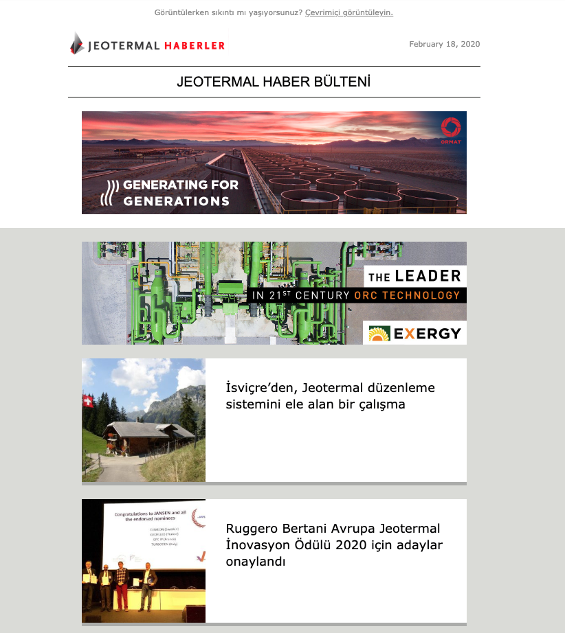 Snapshot of the JeotermalHaberler newsletter of February 18, 2020