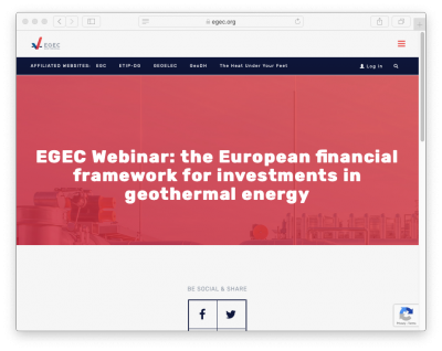 EGEC Webinar – European Financial Framework for investments in geothermal, 26 March 2020