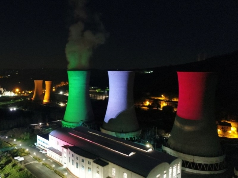 A sign of hope and perseverance – Italian colours shown at Larderello geothermal plant