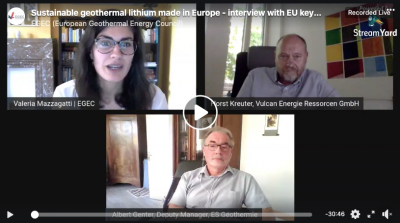 Interview recording – EGEC interview on sustainable geothermal Lithium made in Europe