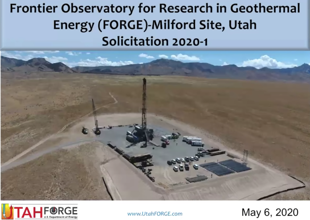 Webinar recording – Utah FORGE geothermal solicitation – introduction & information