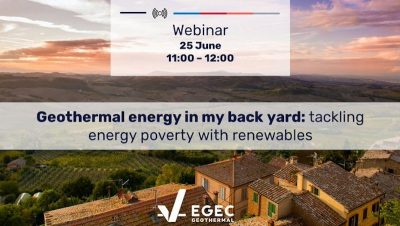 Webinar – Geothermal energy in my back yard: tackling energy poverty with renewables, June 25, 2020
