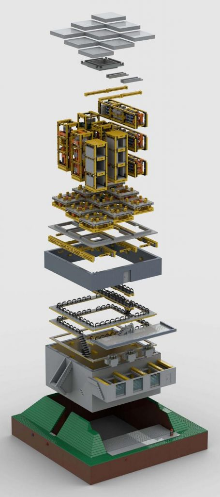 Exploded view of the larger components of the standardized, modularized and scalable geothermal facility concept developed by the AP Møller Holding geothermal team. Illustration: APM