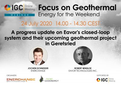 Webinar – Update on Eavor's closed-loop geothermal system – July 24, 2020
