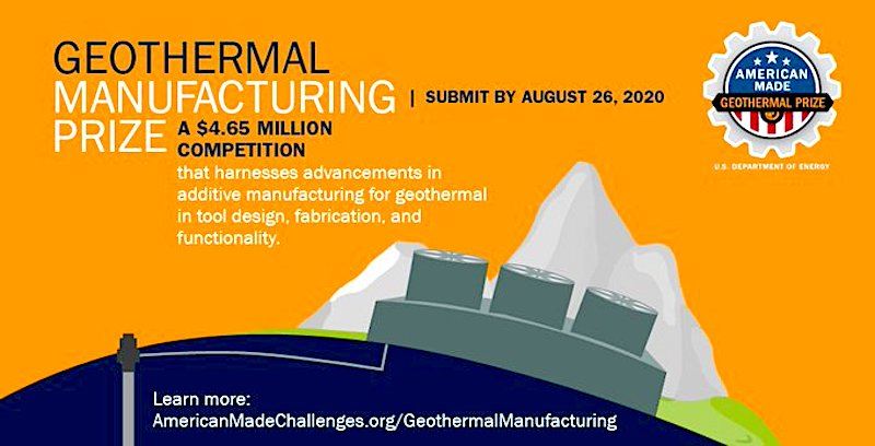 American-Made – Geothermal Manufacturing Prize, deadline Aug. 26, 2020