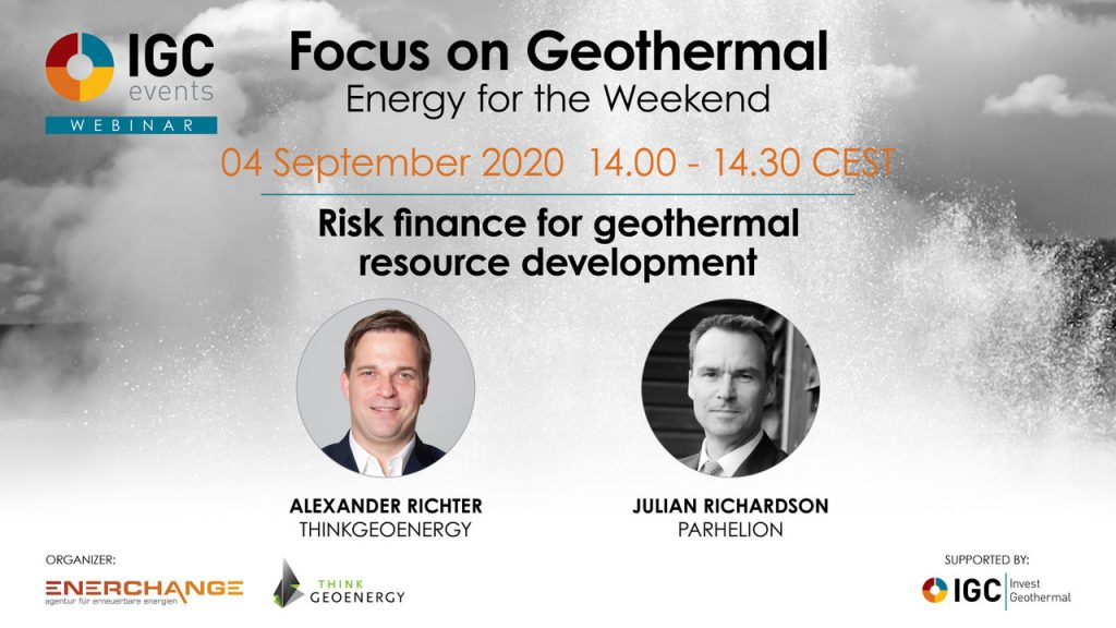 Webinar – Risk finance for geothermal resource development/ Parhelion – Sept. 4, 2020