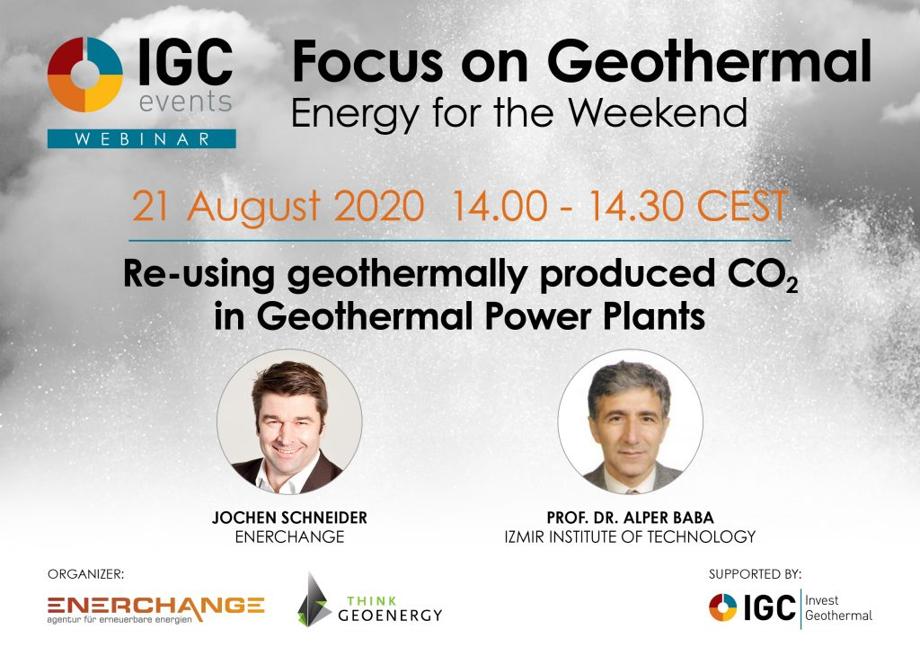 Webinar – Re-using geothermally produced CO2 in geothermal plants – Aug. 21, 2020