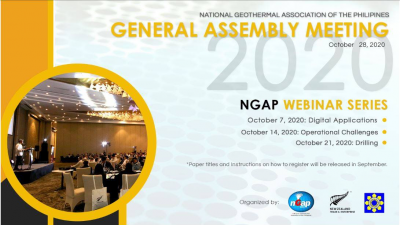 Philippines Geothermal Association – Webinar & General Meeting Sessions – October 7-28, 2020