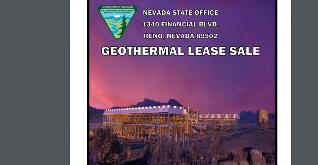 BLM announces geothermal lease sale for 18 parcels on October 20, 2020
