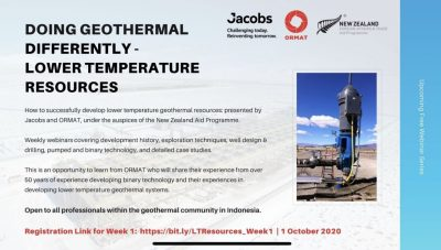 Webinar series on successful development lower temperature geothermal resources, start Oct. 1, 2020
