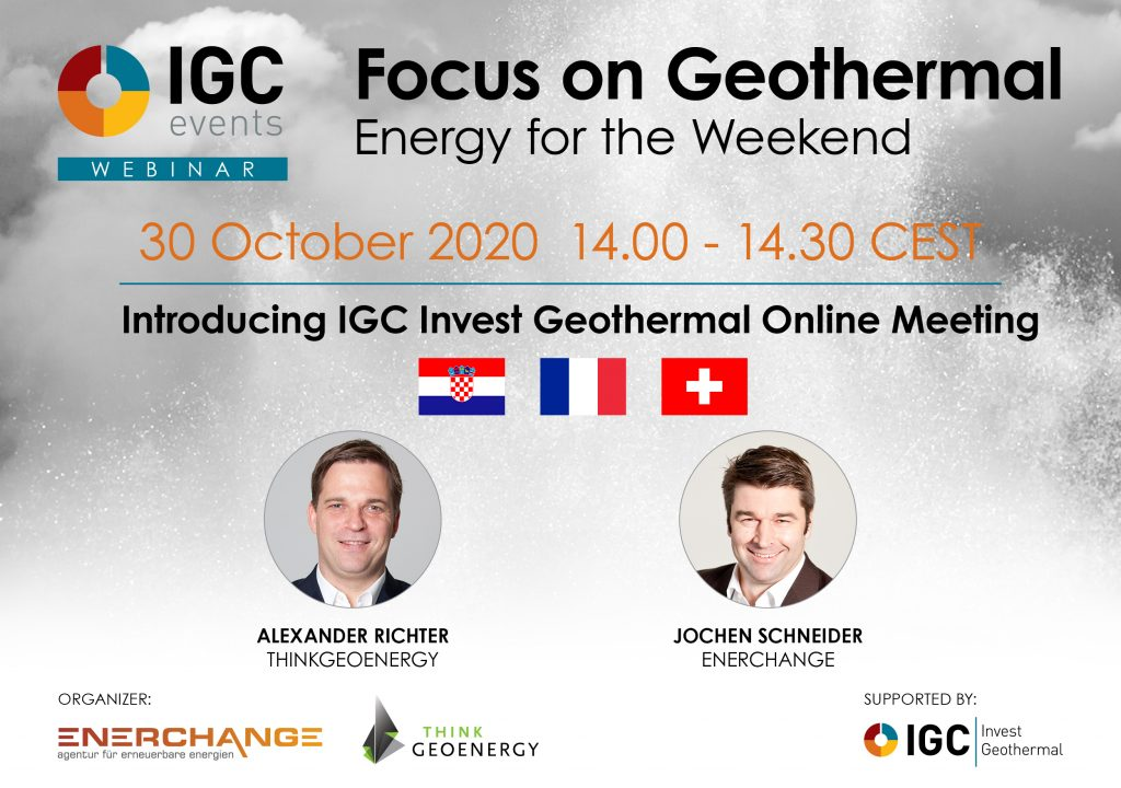 Webinar – The geothermal markets of Croatia, France and Switzerland, Oct 30, 2020