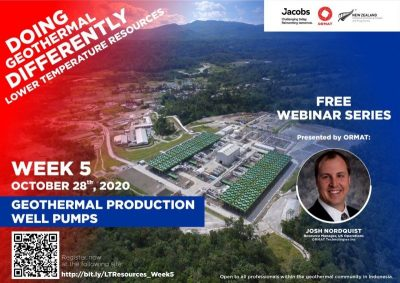 Webinar – Geothermal Production Well Pumps, Lower T Fields, Oct 28, 2020